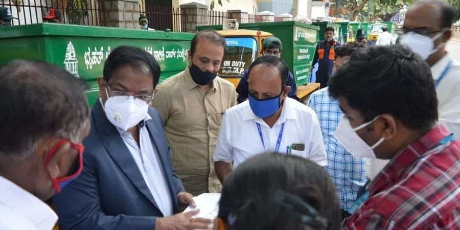 BBMP Commissioner N Manjunatha Prasad at Govindarajanagar ward where the first fleet of auto-tippers started operations