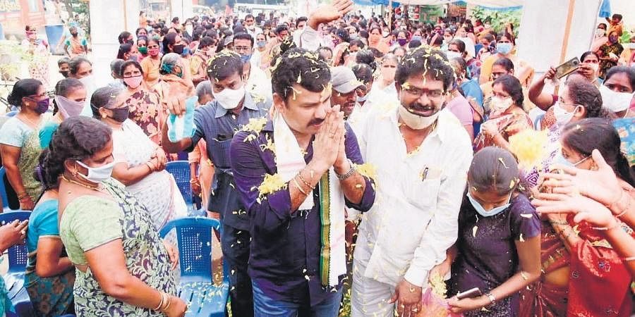 Physical distancing goes for a toss at a meeting addressed by YSRC's Vizag North constituency coordinator   express