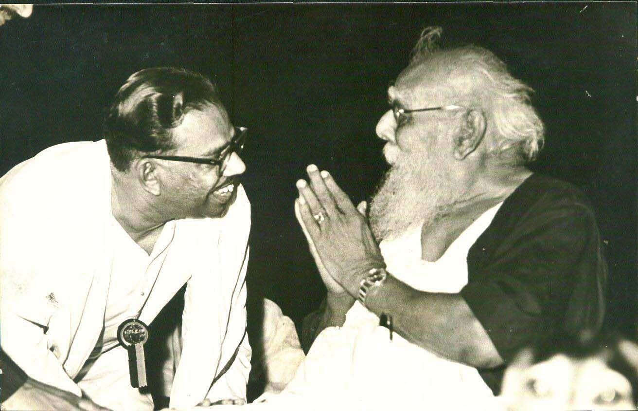 DravidaKazhagam founder Periyar with former CM of Tamil Nadu VR Nedunchezhiyan.