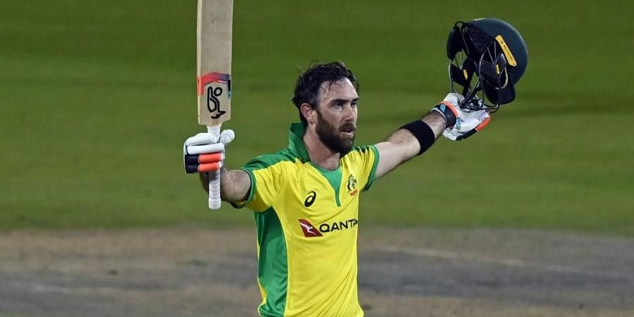 Australia's Glenn Maxwell celebrates scoring a century during the one-day international (ODI) cricket match between England and Australia. (Photo | AFP)