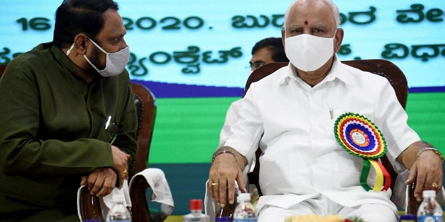 Chief Minister B S Yediyurappa holds a meeting with Cooperative Societies Department officials along with all the Deputy CMs at Vidhana Soudha