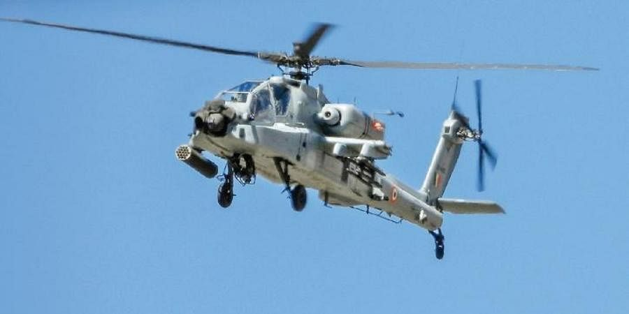 IAF's Apache helicopter flies overLadakh on Thursday amid tension with China.