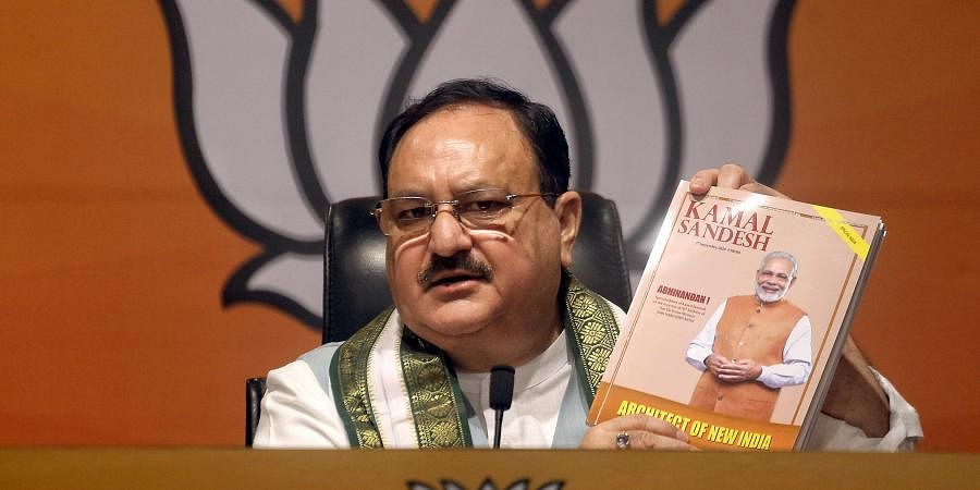 BJP National President JP Nadda during the release Kamal Sandesh Special edition on the occasion of Prime Minister Narendra Modi 70th Birthday.
