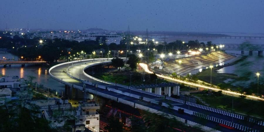 A view of Kanaka Durga flyover on which load test still going in Vijayawada