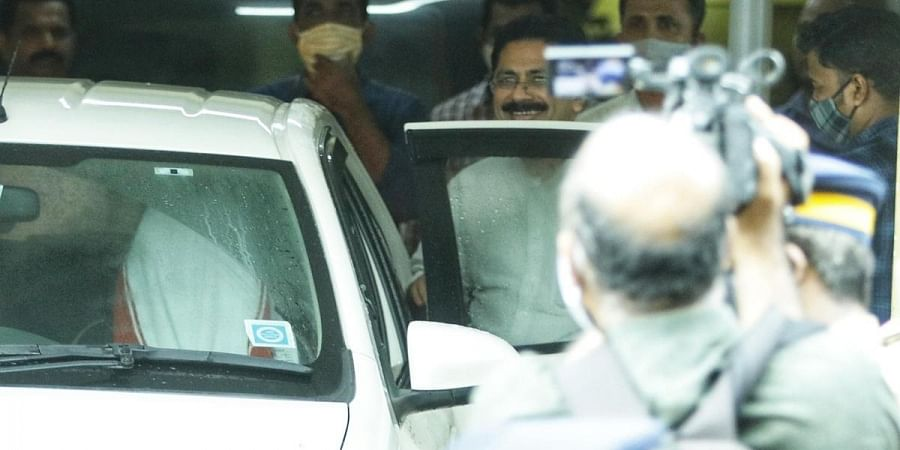 Higher Education Minister K T Jaleel comes out of the National Investigation Agency's office in Kochi after questioning