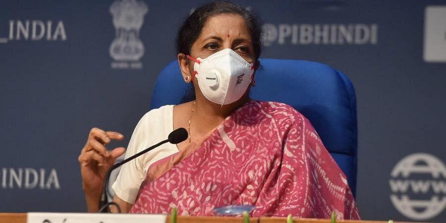 Union Finance Minister Nirmala Sitharaman addresses a press conference. (Photo   PTI)