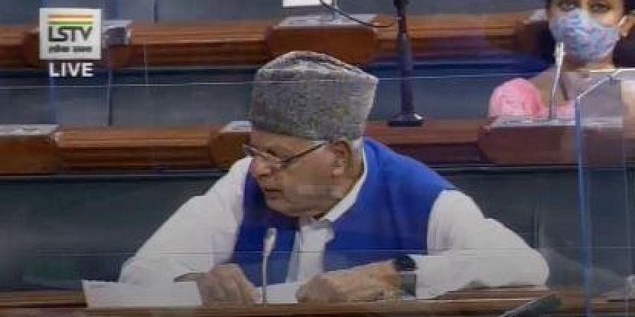 National Conference MP Farooq Abdullah in Lok Sabha.