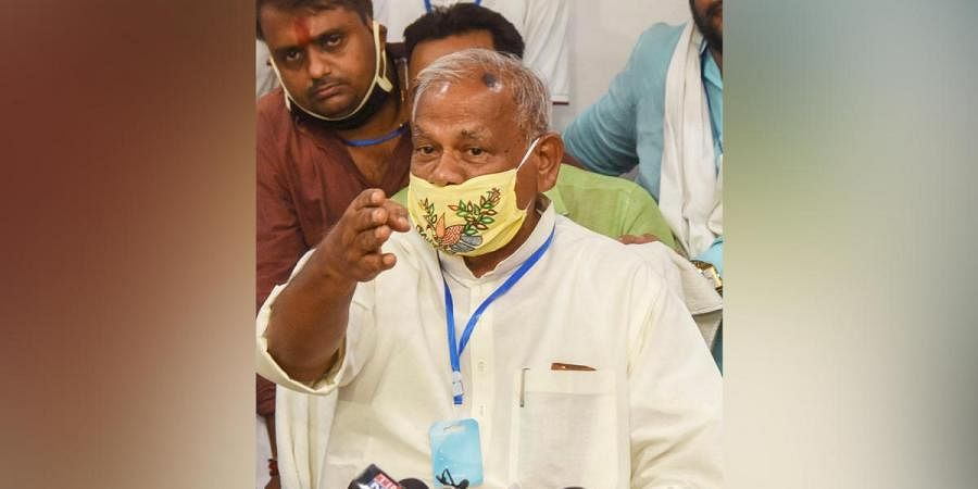 Former Bihar CM and HAM S President Jitan Ram Manjhi addresses a press conference in Patna Wednesday