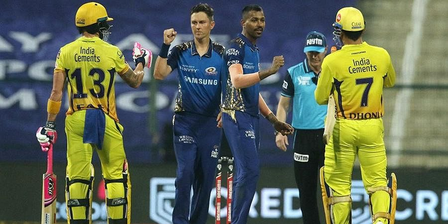 CSK and Mumbai Indians players after the first cricket match of IPL 2020 at Sheikh Zayed Stadium.