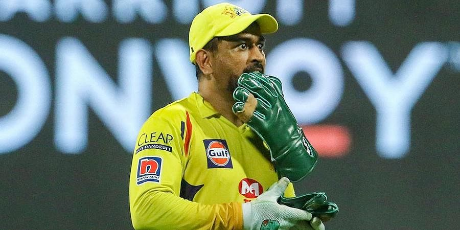 CSK skipper MS Dhoni during the first cricket match of IPL 2020 at Sheikh Zayed Stadium.