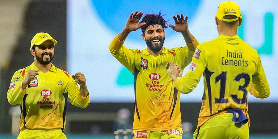 CSK player Ravindra Jadeja celebrates after taking a wicket during the first cricket match against Mumbai Indians at Sheikh Zayed Stadium.