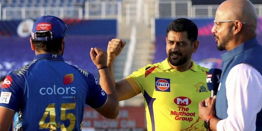 Chennai Super Kings Skipper MS Dhoni and Mumbai Indians Captain Rohit Sharma during the toss. (Photo | PTI)
