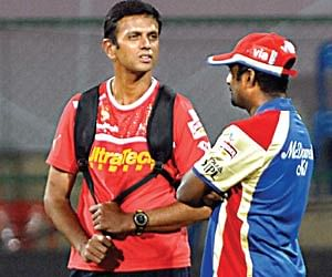 Icons: Back when auctions were novel affairs, certain players were earmarked as icon players, who were automatically picked up by their home franchises. In Picture, Royal Challengers Bangalore's Icon player Rahul Dravid (left) with Muthiah Muralitharan. (File Photo | EPS)
