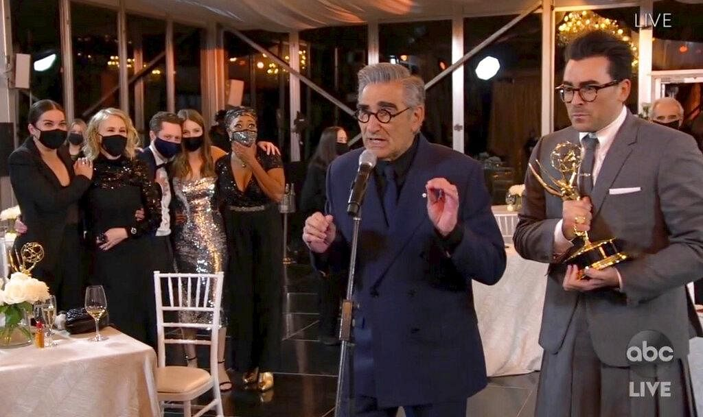 Created by the talented father-son duo Eugene and Daniel Levy, who play reel-life father and son, the show traces the journey of the wealthy  Rose family who lose their savings and are forced to relocate to a town they once bought as a joke - Schitt's Creek. Here are some reasons why the show clicks. (Photo   AP)
