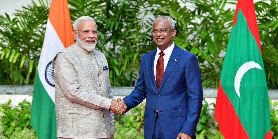 Prime Minister Narendra Modi (L) shakes hands with President of Maldives Ibrahim Mohamed Solih during his one-day visit to Maldives in Male. (Photo | AFP)