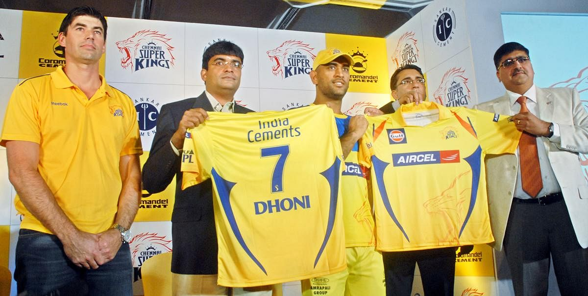 Jerseys: Ever since the IPL's inception, this has always been a hit with the myriad fans. Fake replica sales has a small scale industry running thanks to this. In picture, MS Dhoni(2nd Left) at the unveiling of the Chennai Super Kings' new jersey in Chennai. (File Photo | EPS)