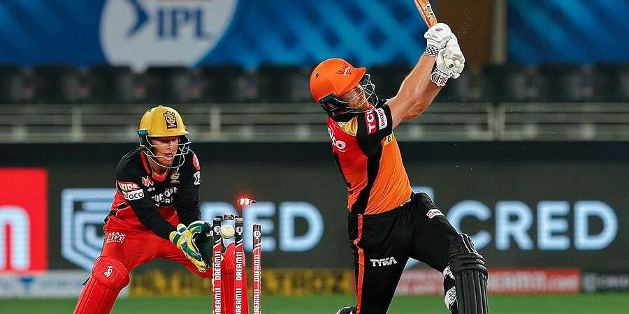 runout run out stumping | Sunrisers Hyderabad batsman Abhishek Sharma runout by Royal Challengers Bangalore player Joshua Philippe during a cricket match of IPL