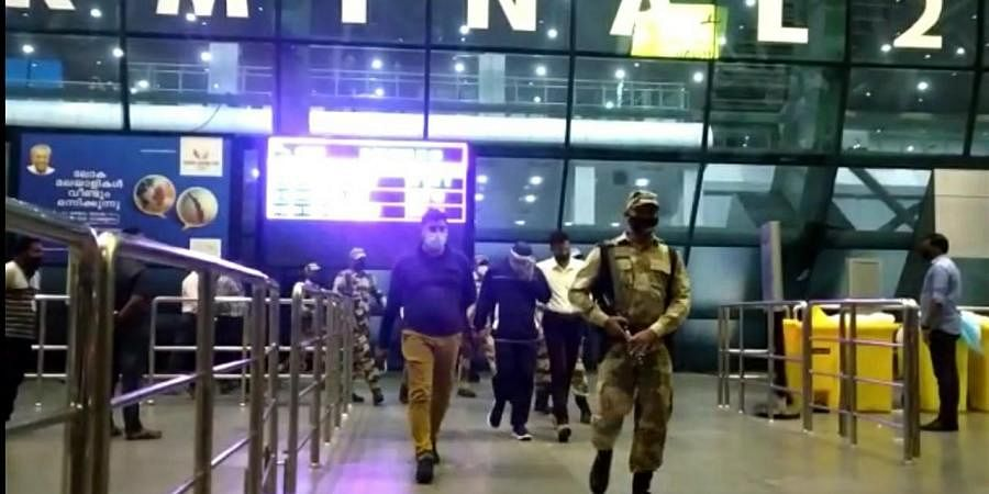 A team of officers from the investigation agencies reached the airport premise in the evening and took the accused into the custody