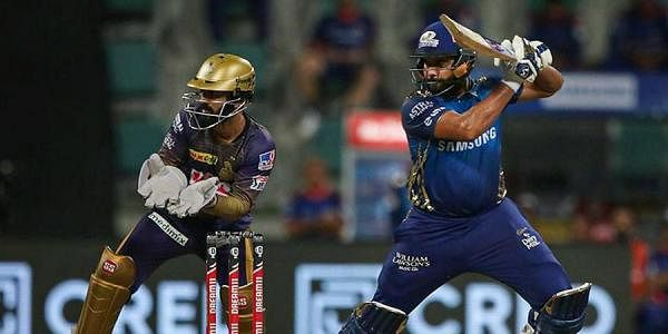 Mumbai Indians batsman Rohit Sharma plays a shot during IPL 2020 cricket match against Kolkata Knight Riders at Sheikh Zayed Stadium. (Photo | PTI)