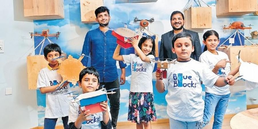 These are some of the drones made at Drone Research and Innovation Centre,by students aged six to 10 from Blue Blocks Montessori School, Hyderabad.