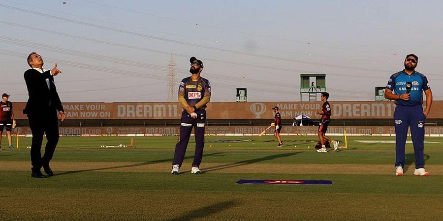 Dinesh Karthik captain of Kolkata Knight Riders and Rohit Sharma captain of Mumbai Indians during the toss. (Photo | IPL)