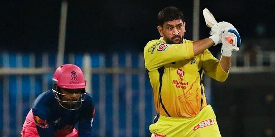 Chennai Super Kings captain Mahendra Singh Dhoni plays a shot during IPL 2020 cricket match against Rajasthan Royals at Sharjah Cricket Stadium.