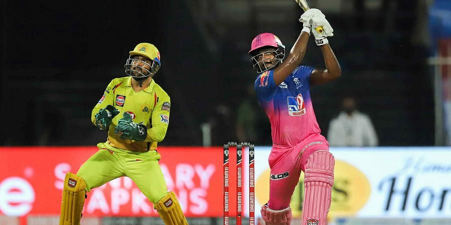 Rajasthan Royals batsman Sanju Samson plays a shot during a cricket match against Chennai Super Kings of IPL 2020