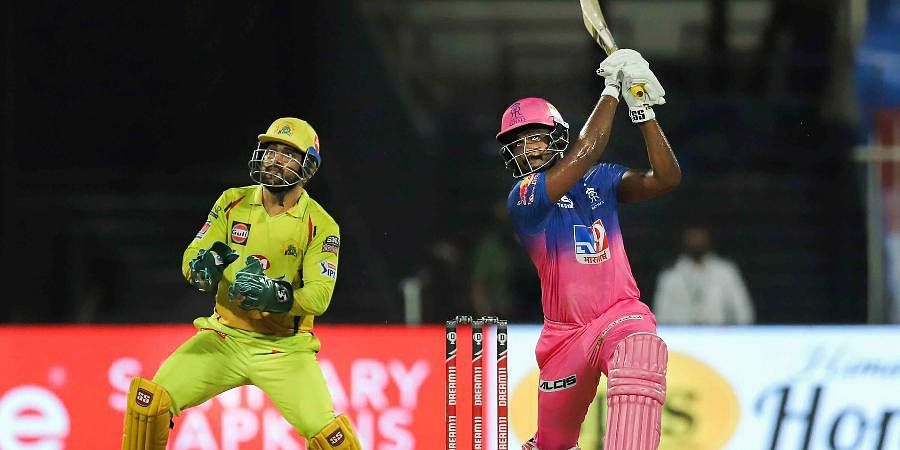Rajasthan Royals batsman Sanju Samson plays a shot during a cricket match against Chennai Super Kings of IPL 2020 at Sharjah Cricket Stadium.