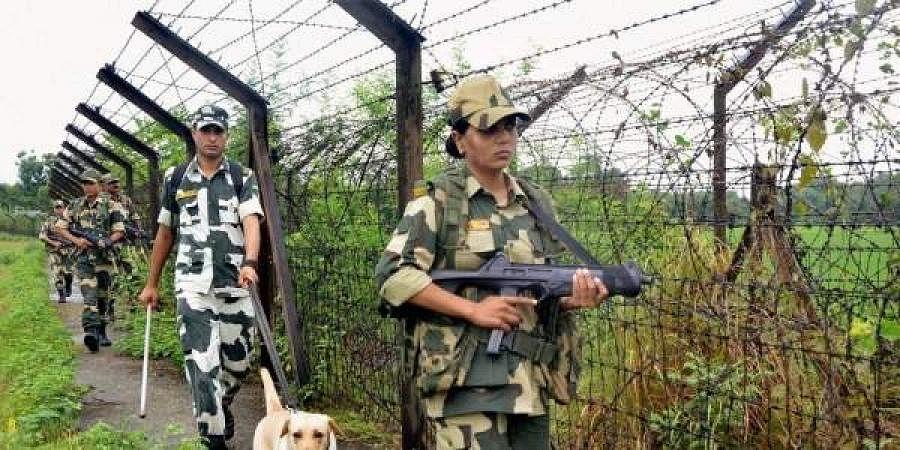 Border Security Force personnel keep vigil along the India-Bangladesh border.