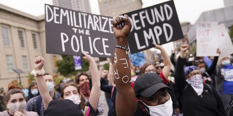 Protesters speak, Wednesday, Sept. 23, 2020, in Louisville, Ky. A grand jury has indicted one officer on criminal charges six months after Breonna Taylor was fatally shot by police. (Photo | AP)