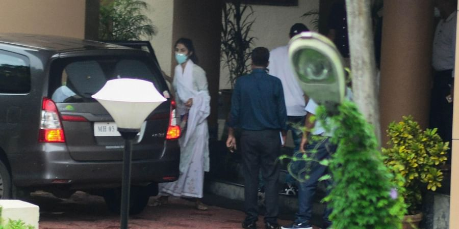 Bollywood actress Rhea Chakraborty arrives at DRDO guesthouse for questioning by CBI team in late actor Sushant Singh Rajput's death case at Santacruz East in Mumbai.