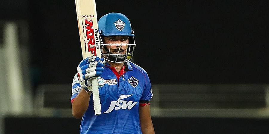 Delhi Capitals batsman Prithvi Shaw celebrates after scoring fifty runs during IPLmatch against Chennai Super Kings at Dubai International Cricket Stadium.