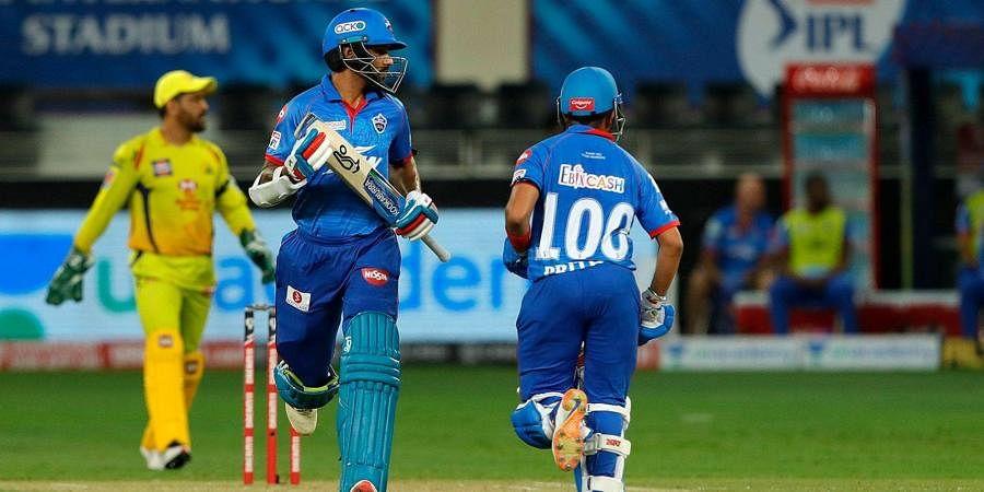 Shikhar Dhawan and Prithvi Shaw of Delhi Capitals running between the wicket. (Photo | IPL)