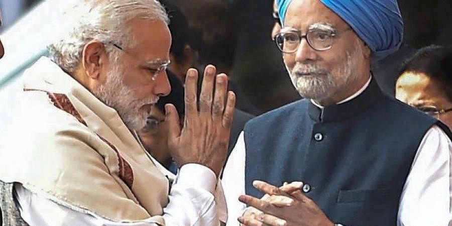 Prime Minister Narendra Modi with  former counterpart Dr. Manmohan Singh