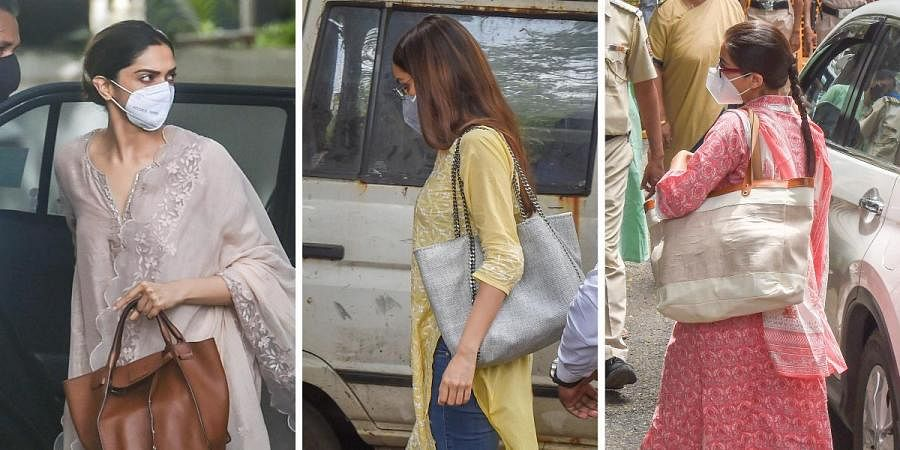 (From left) Bollywood actresses Deepika Padukone, Shraddha Kapoor and Sara Ali Khan at the NCB office for questioning in a drug probe