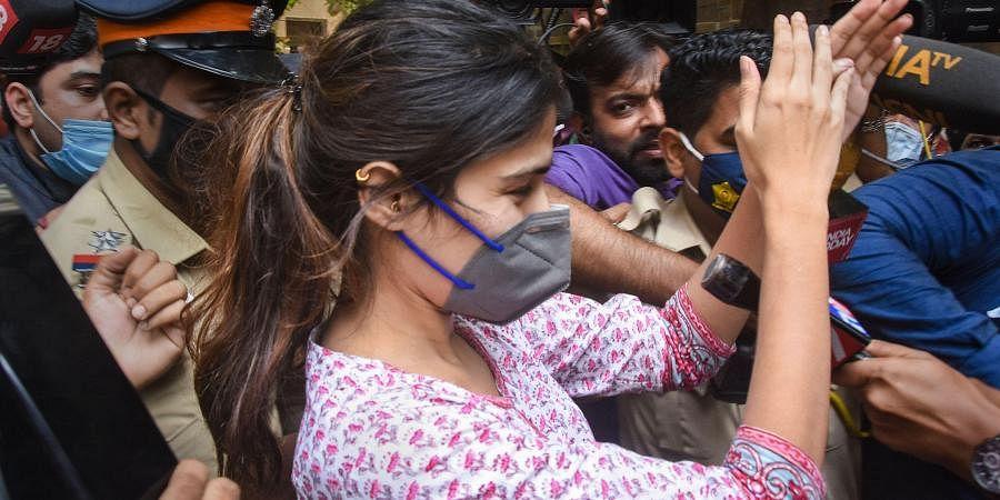 Rhea Chakraborty outside NCB office. (Photo | PTI)