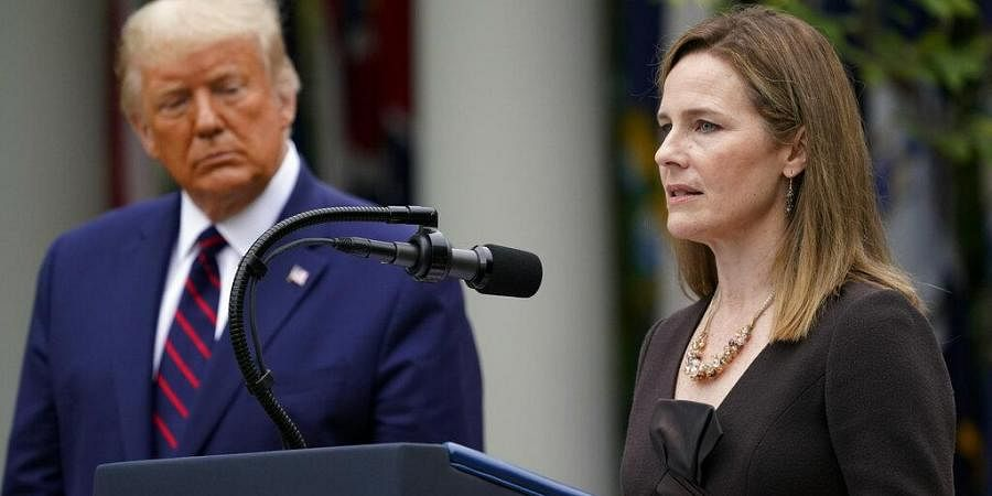 Judge Amy Coney Barrett speaks after President Donald Trump announced Barrett as his nominee to the Supreme Court. (Photo | AP)