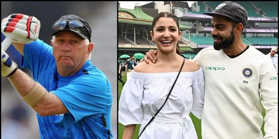 L-R: Former India cricketer Farokh Engineer; actress Anushka Sharma with husband and India cricket captain Virat Kohli.