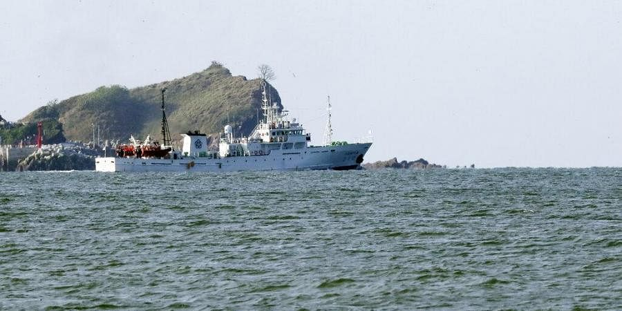 South Korea's government ship for a fishery guidance is seen near Yeonpyeong island.