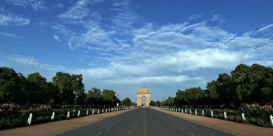 A deserted view of India gate during countrywide lockdown amid coronavirus pandemic, in New Delhi