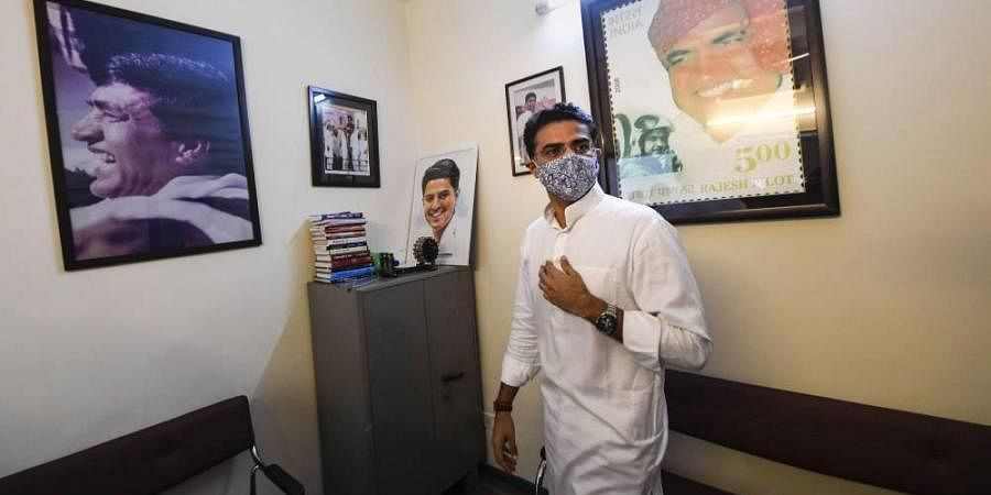 Congress leader Sachin Pilot while interacting with the media at his residence in New Delhi Tuesday