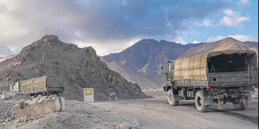 Army vehicles moving towards Line of Actual Control (LAC) amid border tension with China, in Leh