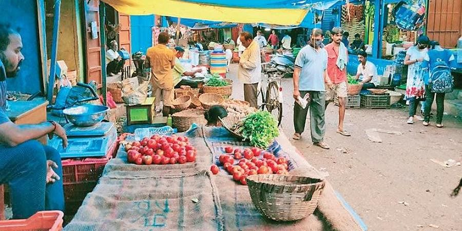 A vegetable market in Berhampur city. (Photo | EPS)