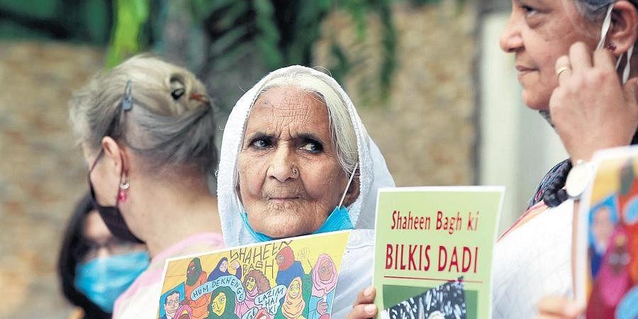 Bilkis Bano at a felicitation programme at Press Club. (Photo   Shekhar Yadav, EPS)