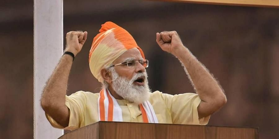 Prime Minister Narendra Modi addresses the nation during the 74th Independence Day celebrations. (Photo | PTI)