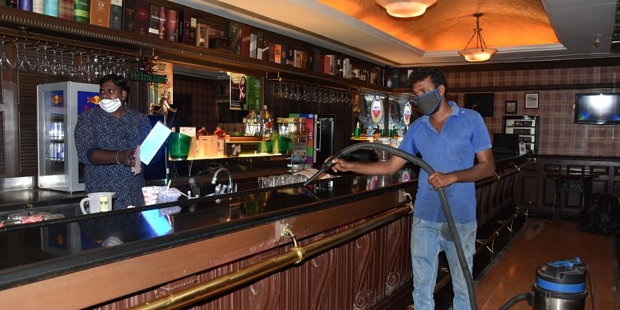 A pub gearing up to be reopned in chennai following the governments lockdown relaxation on Friday. (Photo | EPS/Ashwin prasath)