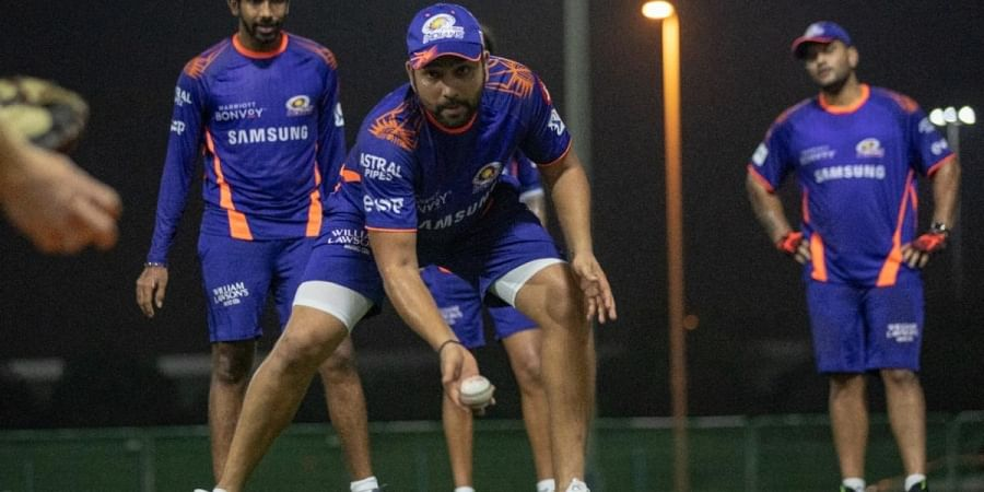 Mumbai Indians skipper Rohit Sharma during a practice session in UAE