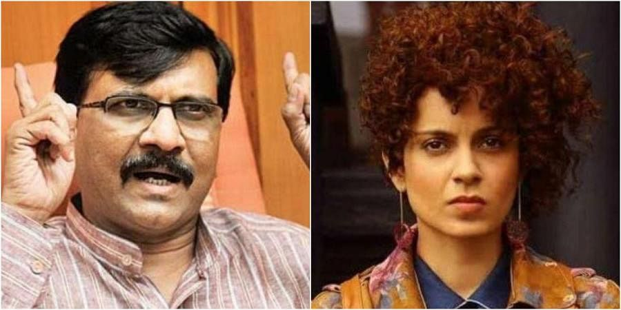 Shiv Sena MP Sanjay Raut (L) and Kangana Ranaut