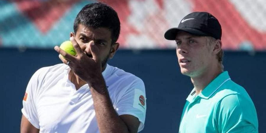 Tennis stars Rohan Bopanna (L) and Denis Shapovalov (Photo | Tennis Canada Twitter)