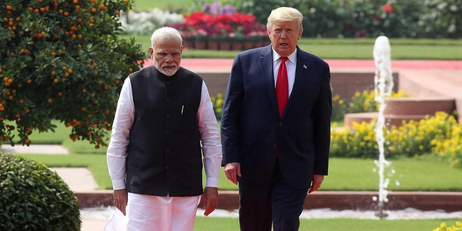 US President Donald Trump and Indian Prime Minister Narendra Modi arrive for a joint press statement at the Hyderabad House in New Delhi on Tuesday Feb. 25 2020.